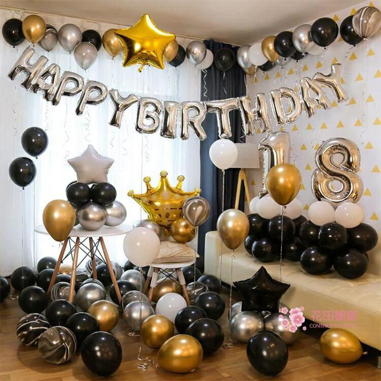 氣球 生日快樂派對趴體女孩男生場景布置背景牆氣球兒童周歲主題裝飾品【全館免運 75折鉅惠】
