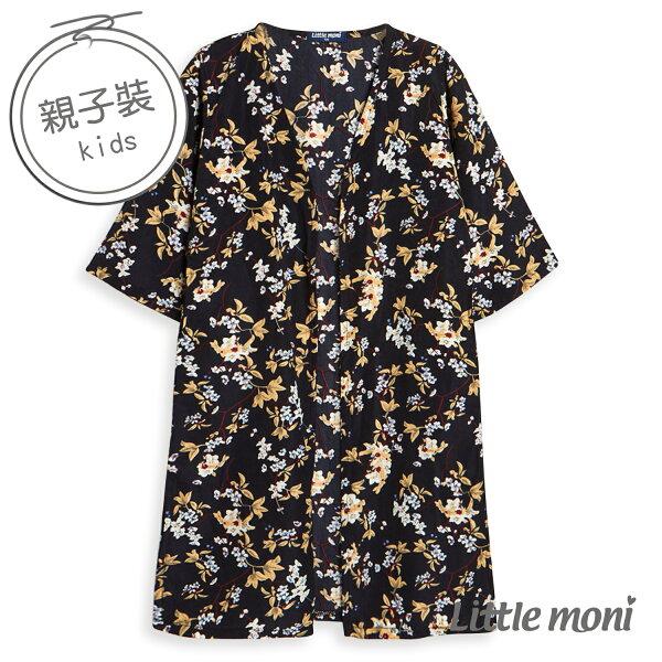 Littlemoni花卉長版罩衫-深藍