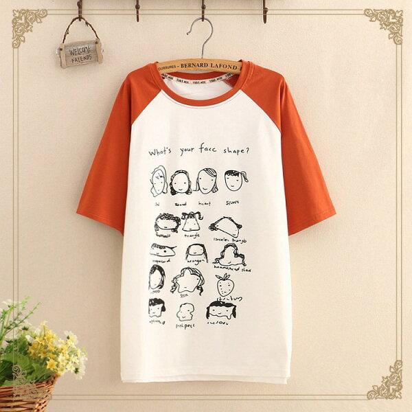 梅梅露*【55182088】可愛表情短袖T恤上衣