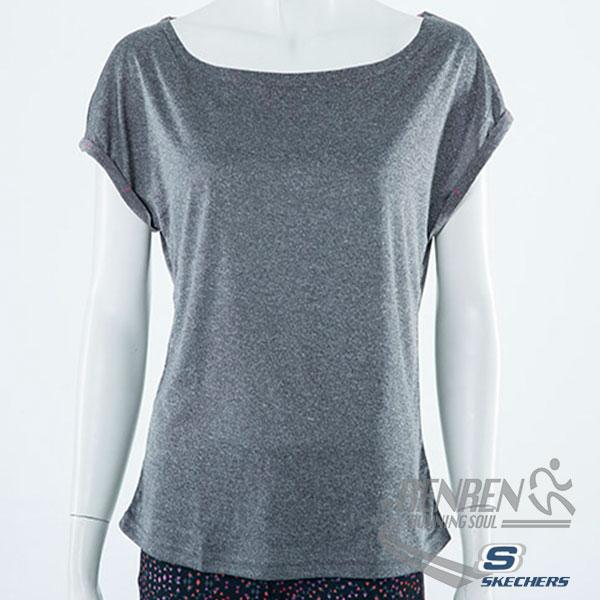 SKECHERS女慢跑短袖T恤(深灰色)排汗快乾運動休閒柔軟舒適