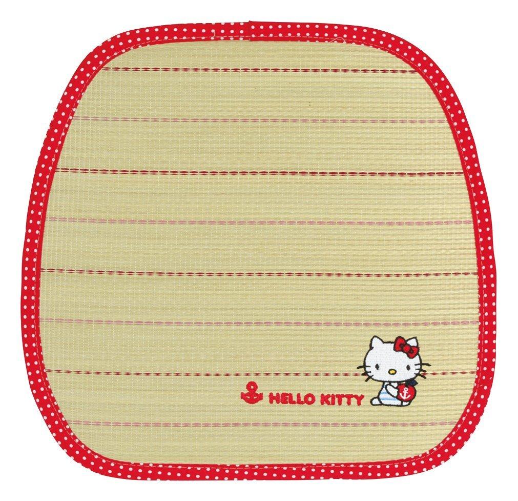 X射線【C655444】Hello Kitty 草蓆坐墊40x38cm-紅條紋,寢室用品/床/床被/涼爽/夏天/環保節能/地墊/腳踏墊/床墊