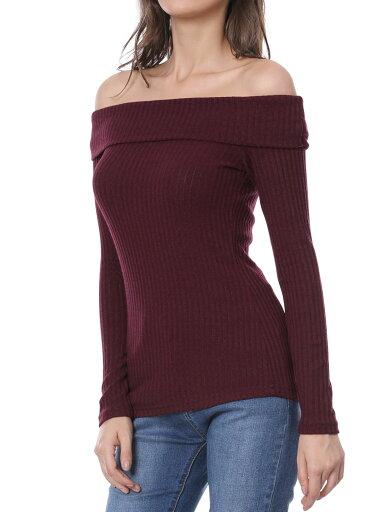 Unique Bargains Women's Long Sleeve Off Shoulder Slim Knit Christmas Top Burgundy (Size XL / 18) 52f344016dc00bc9fc8551e8a5e67e86