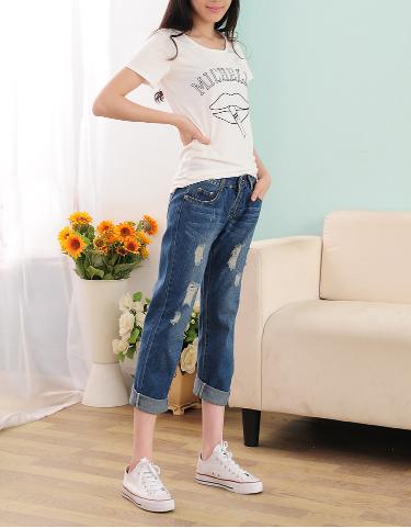 【預購款】寬鬆九分刷破顯瘦男友褲 哈倫牛仔褲 寬鬆個性款【HL601M26UE】 Lanny Dress 6