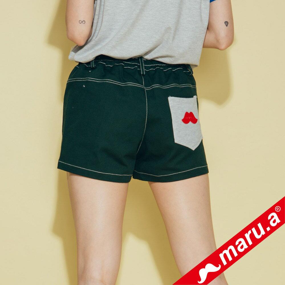 【maru.a】網路限定款*刺繡雙口袋皮標鬆緊帶短褲(2色)8985112 2