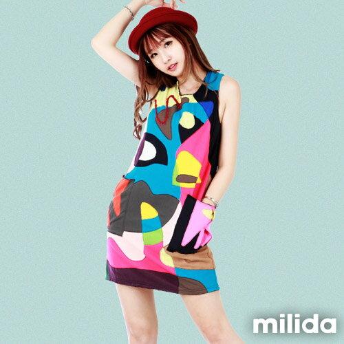 【Milida,全店七折免運】無袖大口袋可愛洋裝 0