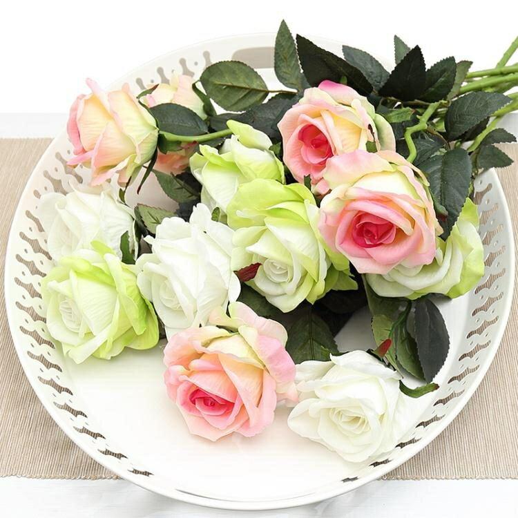 假花 仿真玫瑰花單支 假玫瑰花 客廳裝飾花絨布紅玫瑰仿真花束絹花假花 2