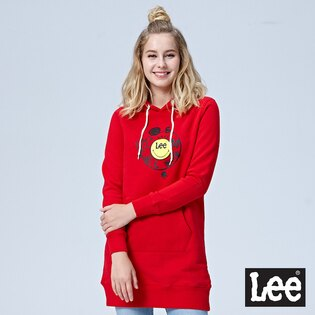 Lee Jeans tw:LeeLEEXSMILEY聯名長版連帽長袖厚TEE-紅色