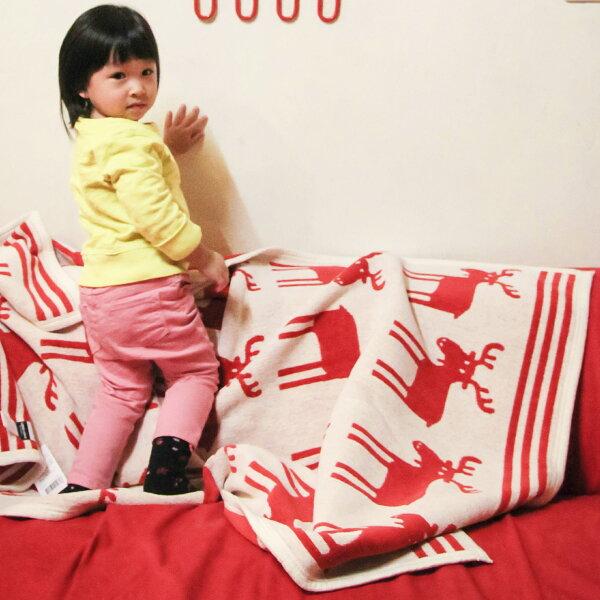 瑞典Klippan有機棉毯--你好麋鹿先生 紅色