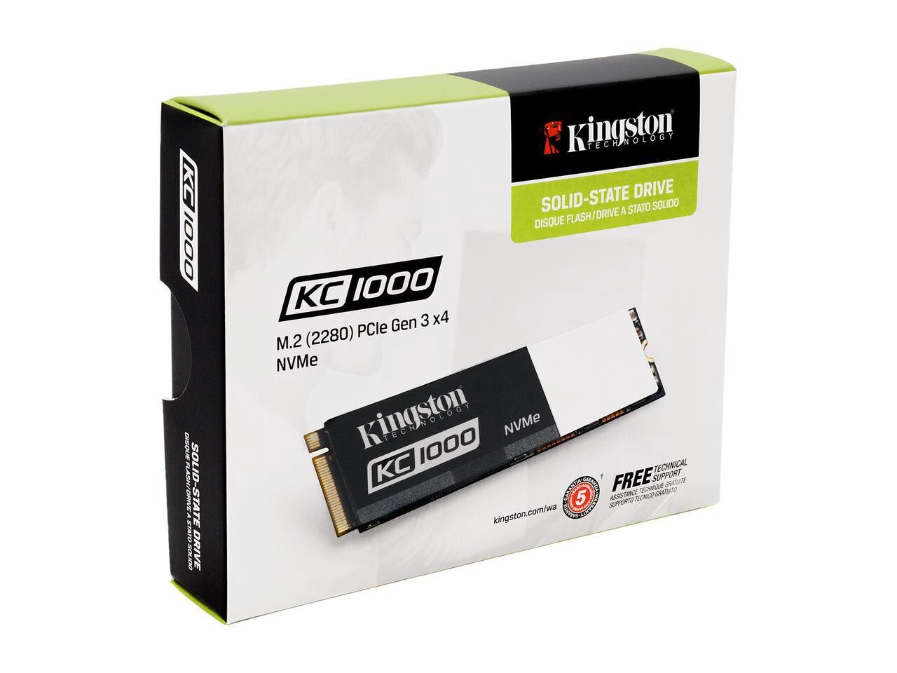 Kingston SSD KC1000 M.2 2280 480GB NVMe PCIe Gen3 x4 PCI-Express 3.0 x4 Lanes MLC Internal Solid State Drive SKC1000/480G 1