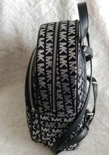 美國Michael Kors黑色 / 銀色MK LOGO刺繡布面設計 後背包 限量款 1