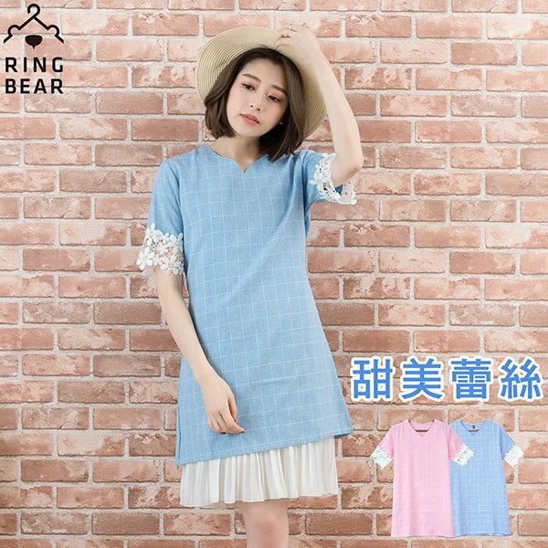 蕾絲洋裝--氣質甜美袖口拼接蕾絲細緻格紋V領洋裝 / 長上衣(粉.藍XL-3L)-D193眼圈熊中大尺碼 0