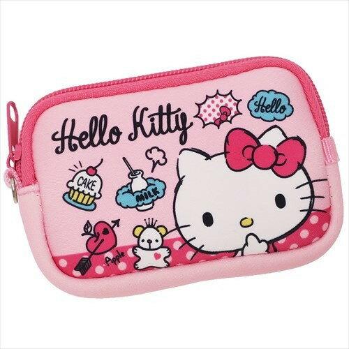 【真愛日本】17112100010 彈力潛水布方錢包-KT甜點粉 三麗鷗 kitty 凱蒂貓 日用品 零錢包 收納小包