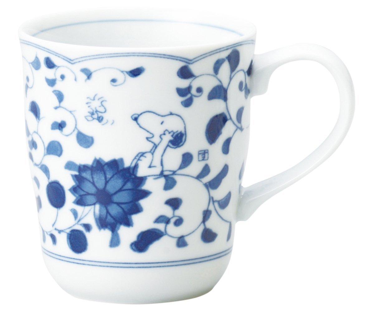 X射線【C630339】史努比青花瓷美農燒馬克杯,陶瓷杯/水杯/玻璃杯/茶杯/咖啡杯/交換禮物/SNOOPY