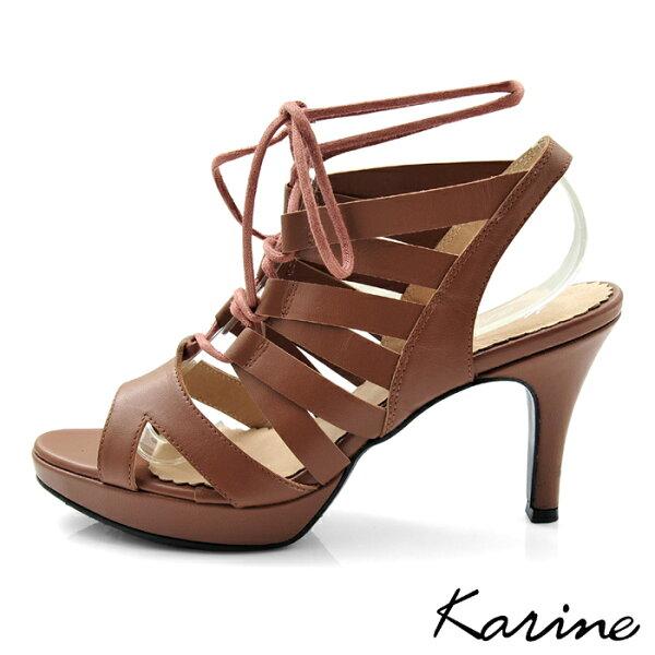 Karine:karine(MIT台灣製)全真皮羅馬繞帶高跟涼鞋-棕色