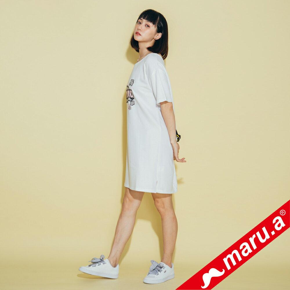 【maru.a】胸前maru.a印花背後織帶裝飾露肩洋裝 8317111 2