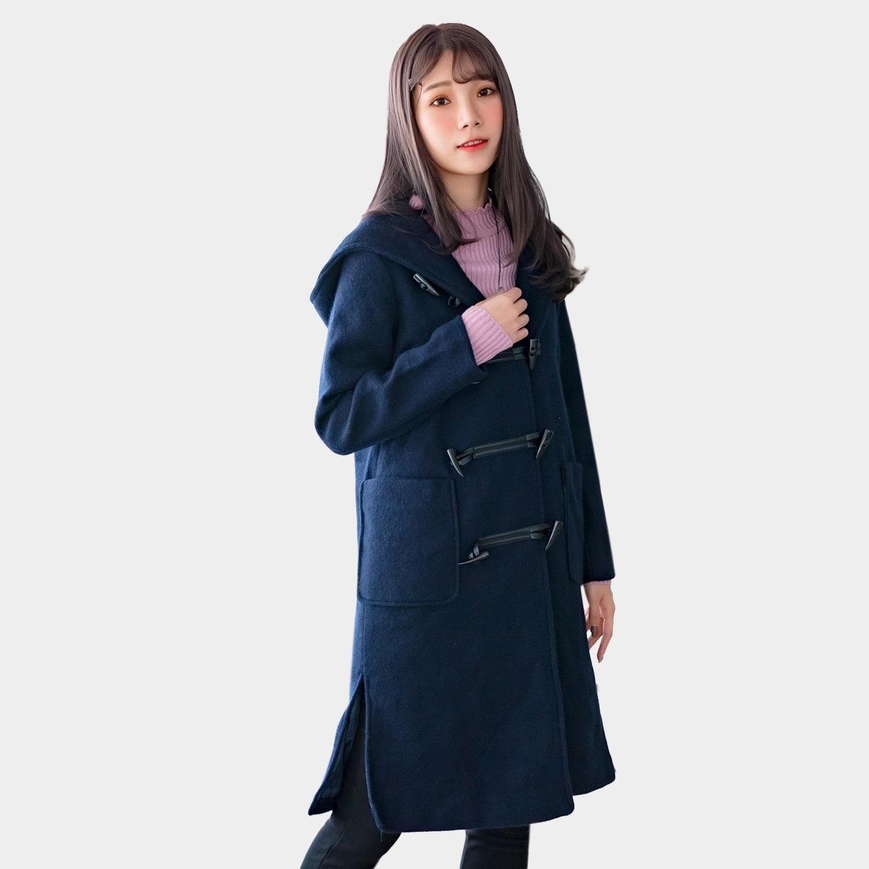 長版外套--時尚OL牛角扣開衩口袋連帽保暖毛呢大衣外套(藍.卡其M-3L)-J268眼圈熊中大尺碼 0