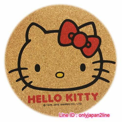 【真愛日本】16110900006圓形軟木隔熱墊-大臉紅結  三麗鷗 Hello Kitty 凱蒂貓 鍋墊 杯墊 墊子 防滑 正品