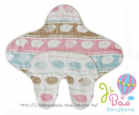 【現貨】日本製六重紗連帽牛角木釦包腳包巾 大象柄 也可當浴巾 ★ 與 Hoppette 同等級★
