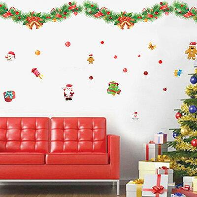 WallFree窩自在~DIY無痕 牆貼  壁貼~聖誕節佈置 雪花 雪人 聖誕老人~50X