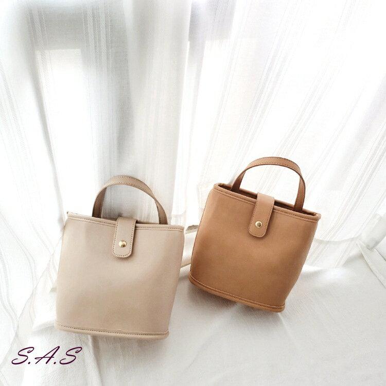 SAS 韓新款水桶包 斜跨肩背手提兩用水桶包 時尚手提包 水桶包 提把單釦【932L】