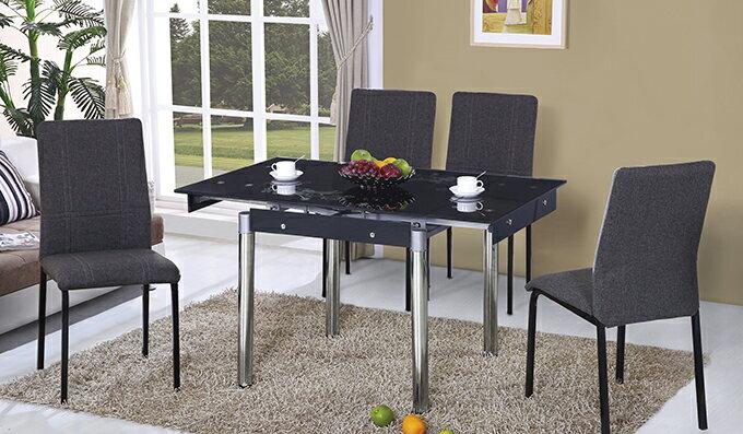 【尚品傢俱】JF-472-2 如意黑色玻璃拉合餐桌