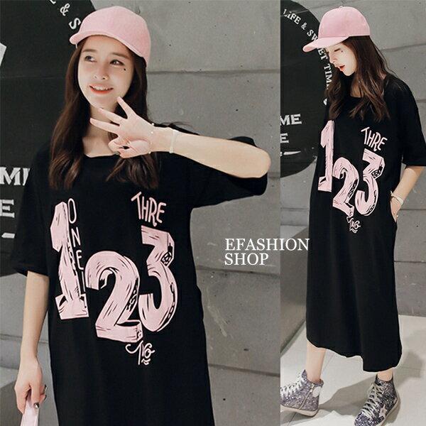 數字123棉質長版連身裙-eFashion預【H16686006】
