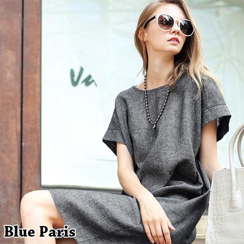 短洋裝 ~ 圓領簡約 隱形口袋亞麻寬鬆連衣裙~29094~藍色巴黎~