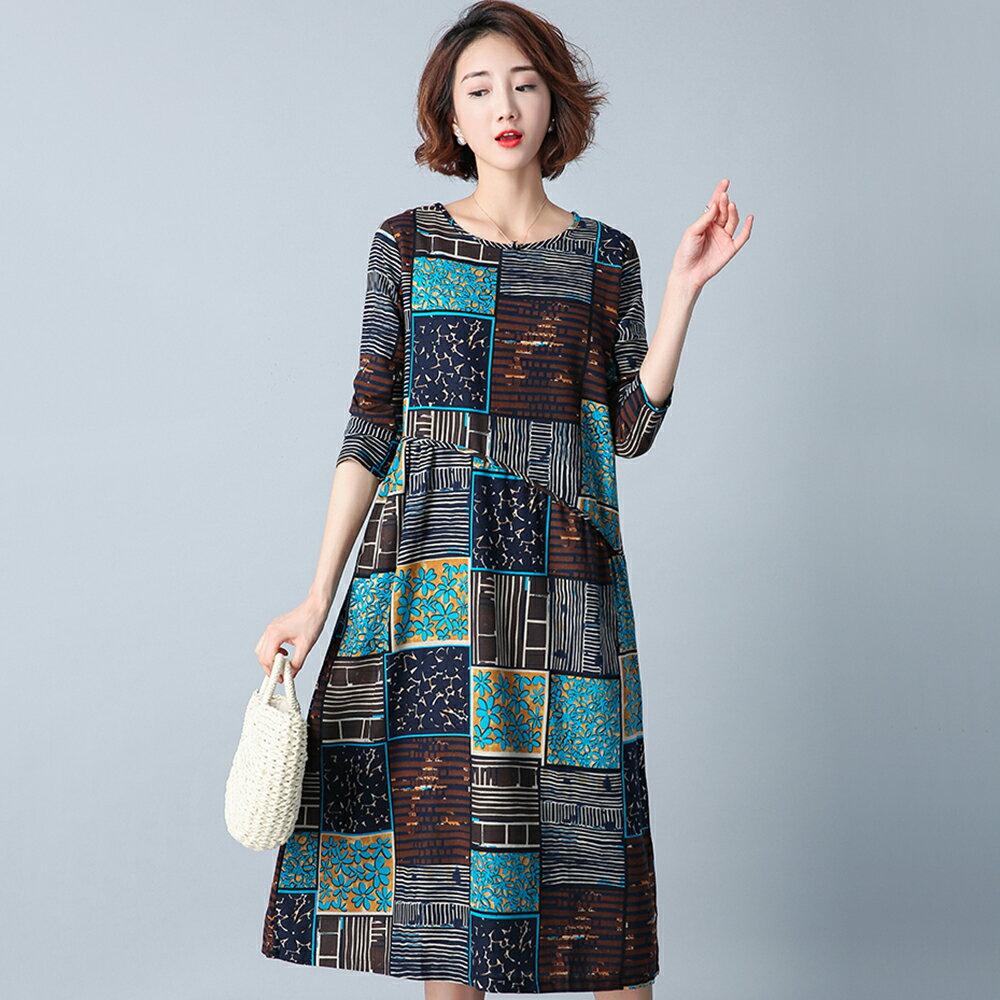 復古印花棉麻寬鬆長袖連身裙(2色M~2XL)*ORead* 0