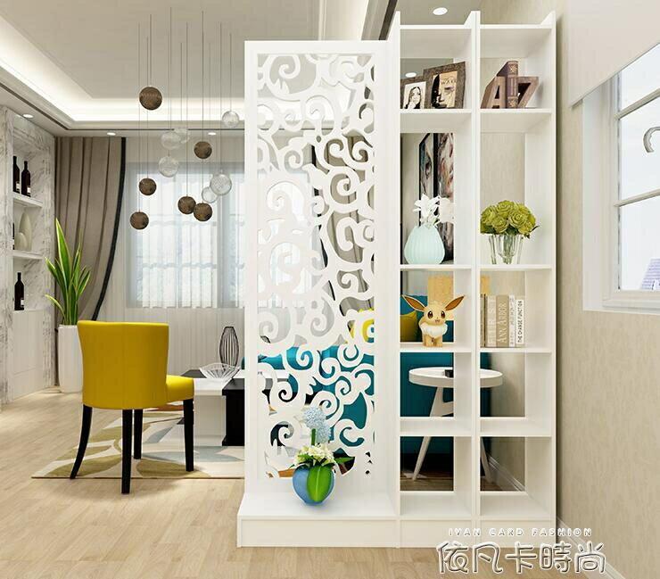 歐式屏風隔斷玄關櫃鏤空雕花簡約現代門廳隔斷櫃客廳白色展示酒櫃