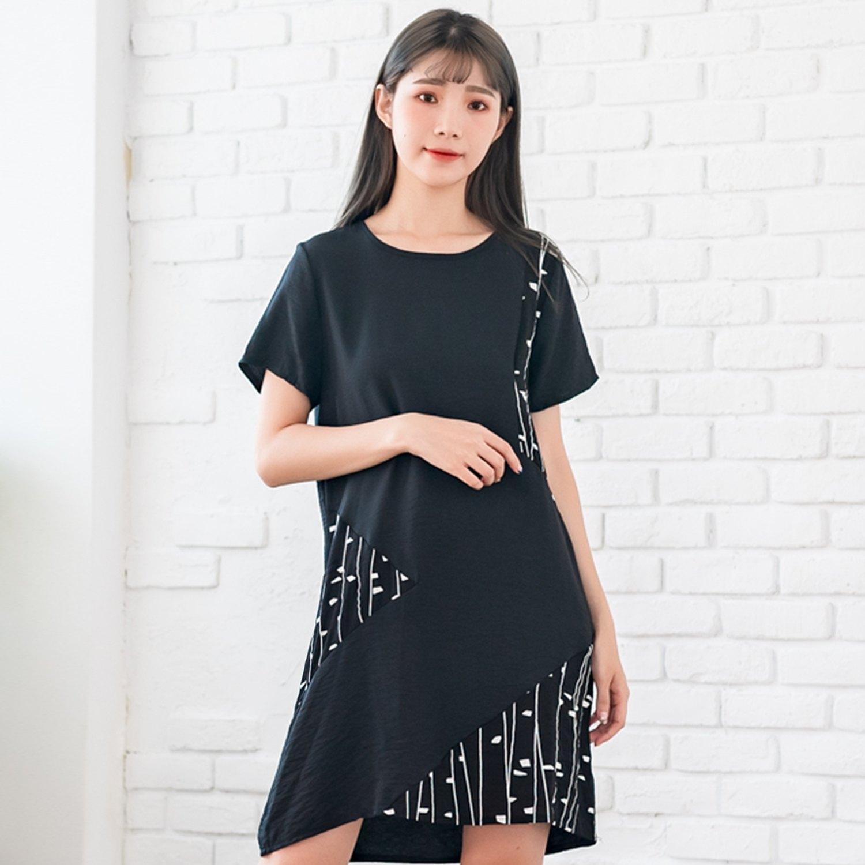 氣質洋裝--優雅拼接撞色點線印花仿皺雪紡寬鬆圓領短袖連衣裙(黑M-3L)-D482眼圈熊中大尺碼 0