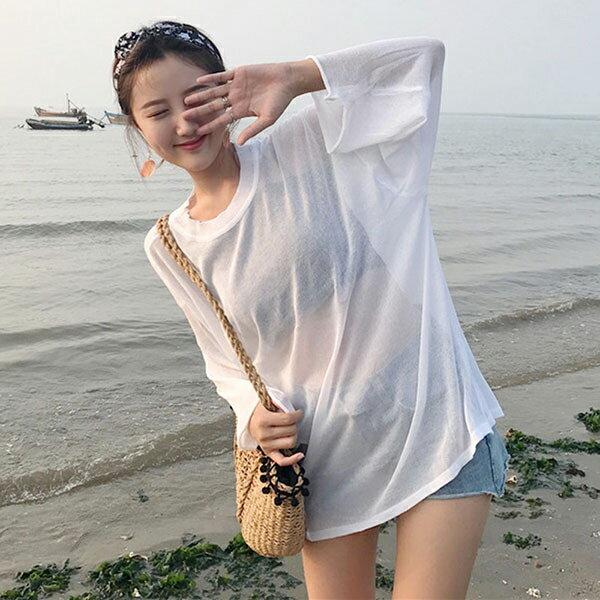 白色半透明比基尼罩衫外搭上衣長袖寬鬆長版遮手臂顯瘦防曬遮陽性感海邊TANNAS.