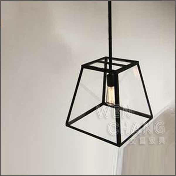 鐵藝工業風 日系 吊燈 極簡北歐風 斐拉玻璃櫥窗單頭 大款 LC-007L *文昌家具*