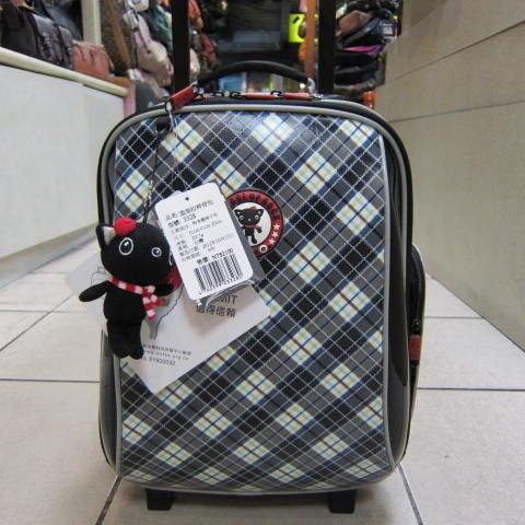 ~雪黛屋~UNME造型拉桿背包#3328 藍格 個人登機箱 拉桿背包 書包 外出旅行上學工作 藍格