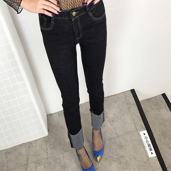 反折 直筒褲 牛仔褲 彈性顯瘦 長褲 刷鬚 中高腰 韓黑藍