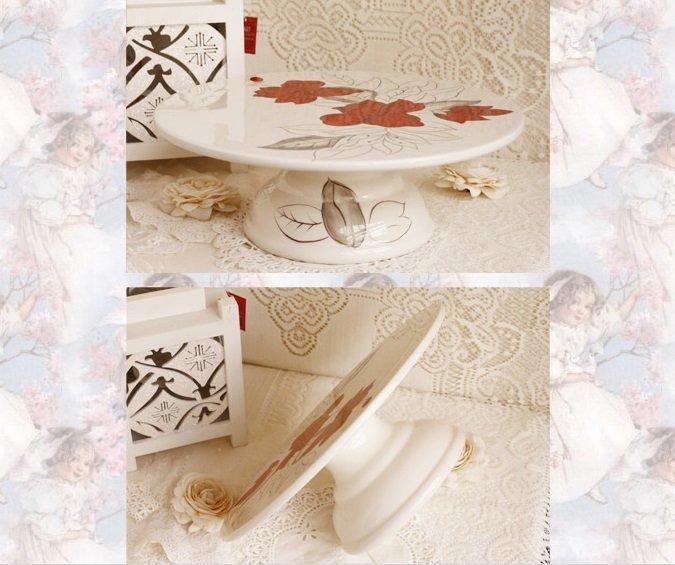 手繪陶瓷蛋糕托盤 花之語系列 蛋糕托(特價)