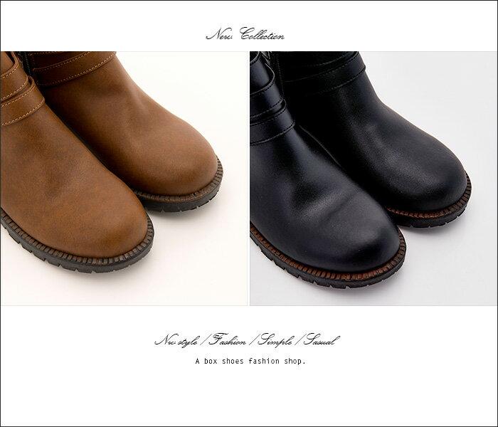 格子舖*【KW6790】MIT台灣製 韓版素面皮革時尚金屬 拉鍊穿拖 3CM低粗跟短靴 2色 2