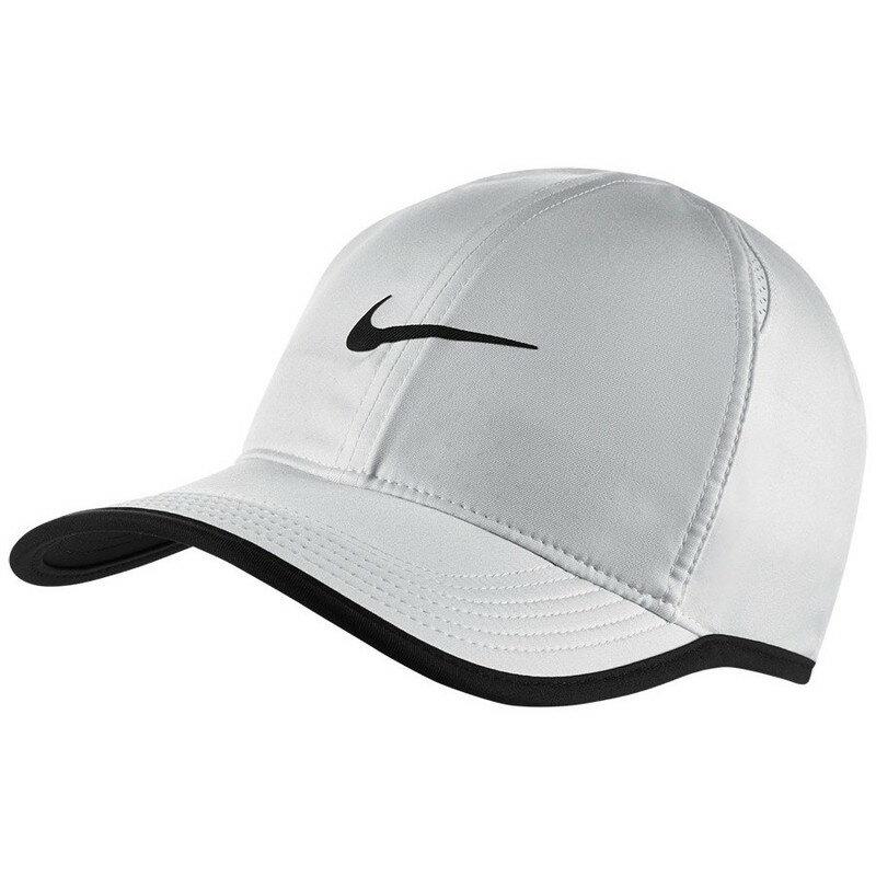 NIKE Feather Light Hat White 帽子 運動 透氣 快乾 魔鬼氈 白黑【運動世界】679421-100