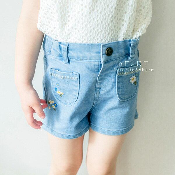 花朵刺繡牛仔短褲童裝女生短褲牛仔褲刺繡短褲