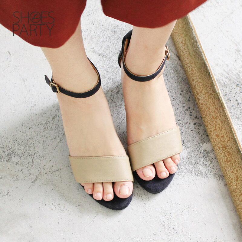 【S2-17613L】春夏必備簡約一字設計中跟涼鞋_Shoes Party 3