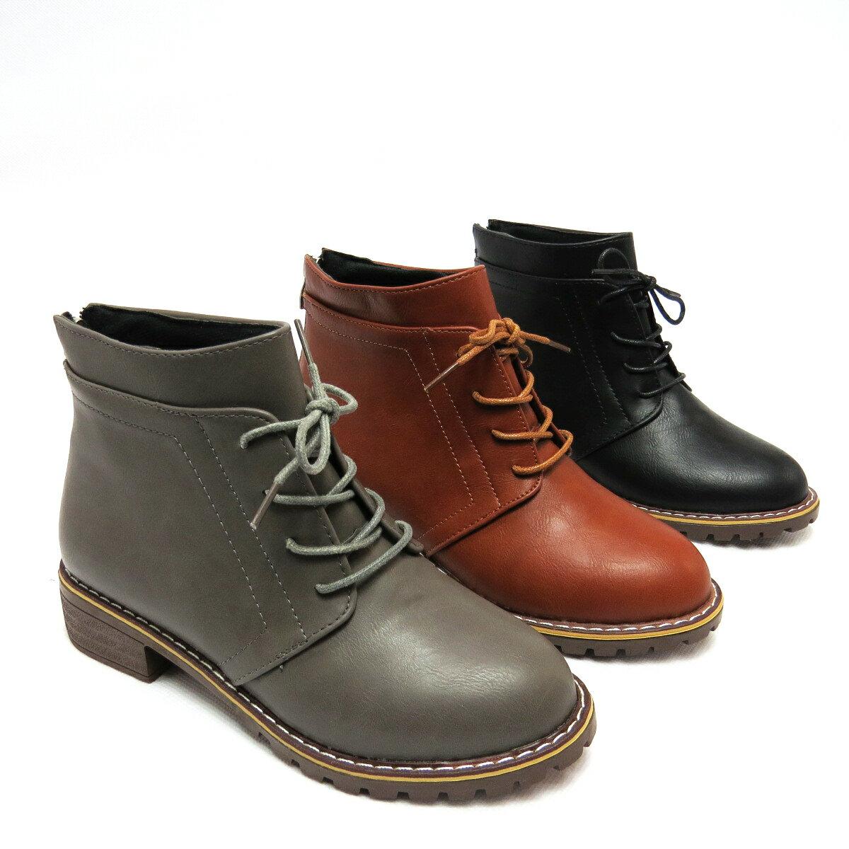 ~ ~ 學院風鞋帶低跟短靴23~968 灰  棕  黑 ~ 彩虹屋 ~ 現 預