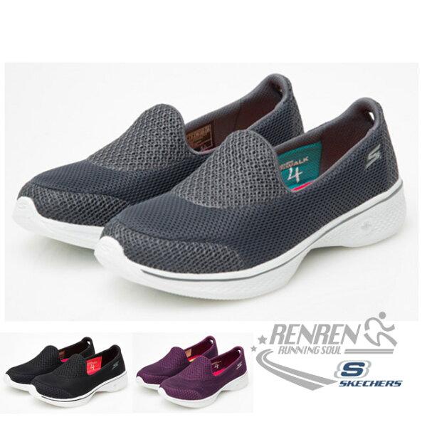 SKECHERS女運動鞋GoWalk4(灰)健走系列鞋14170CHAR【胖媛的店】