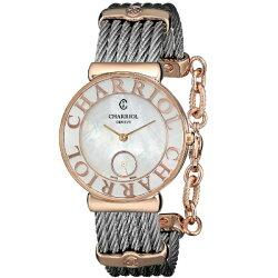 CHARRIOL夏利豪(ST30PC.560.020)真鑽玫瑰金鋼索腕錶/珍珠母貝面30mm
