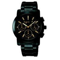 agnès b.手錶推薦到agnes b V654-0AE0G(BWY063P1)夢幻金三眼時尚腕錶/黑面38mm就在大高雄鐘錶城推薦agnès b.手錶
