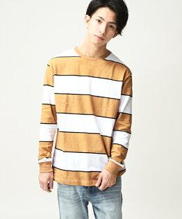 橫條紋T恤駝色