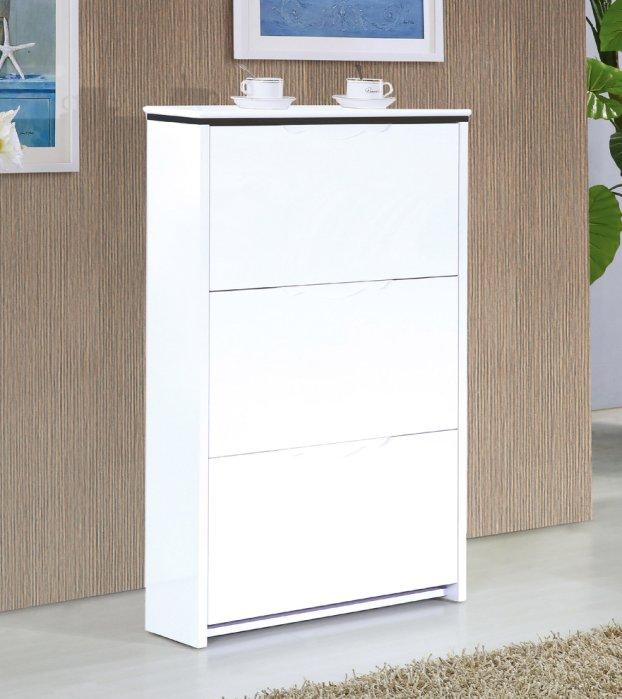 【尚品傢俱】JF-805-1 史翠2.3尺白色三門掀式鞋櫃