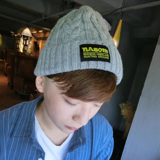 50%OFF【E018823WH】秋冬新款男士針織毛線帽韓版貼布加厚保暖帽女情侶休閒套頭帽