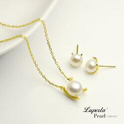 大東山珠寶 雪白之星 純銀珍珠項鍊耳環套組