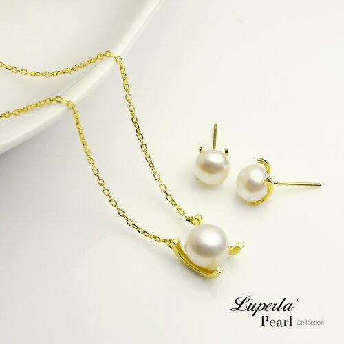 大東山珠寶 luperla:大東山珠寶雪白之星純銀珍珠項鍊耳環套組