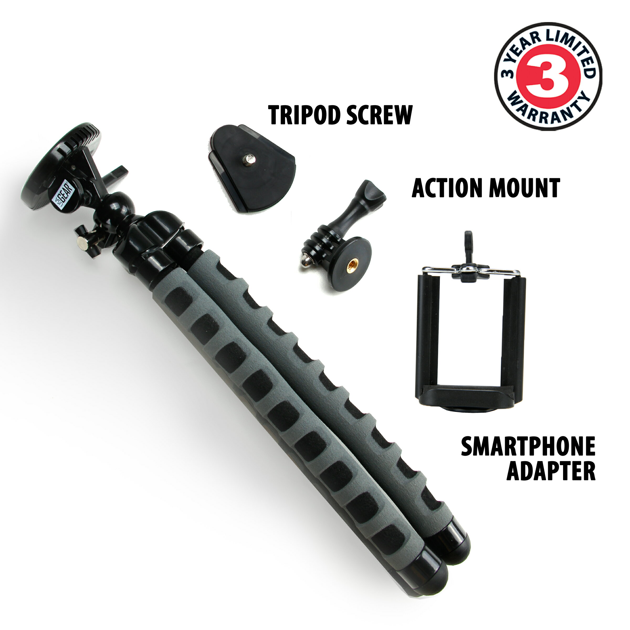USA GEAR Flexible Tripod with 360-Degree Rotating Mount, Smartphone Adapter and Quick-Release Plate 1