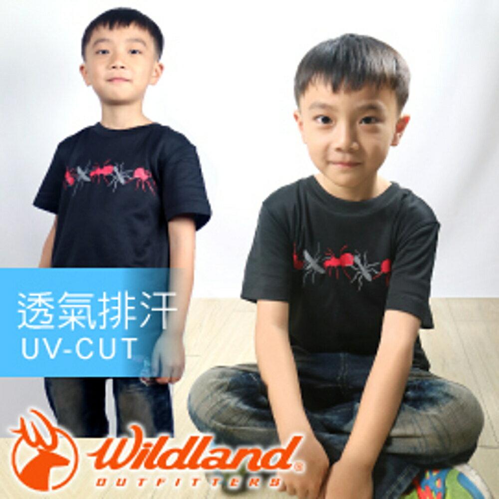 【Wildland 荒野 中童椰碳 印花排汗衣 黑】 71670-54/兒童短袖/排汗衣